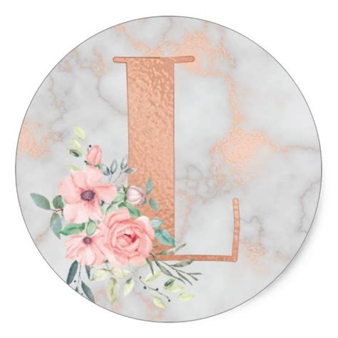 rose gold marble pink flowers monogram letter  classic  sticker zazzlecom rose gold