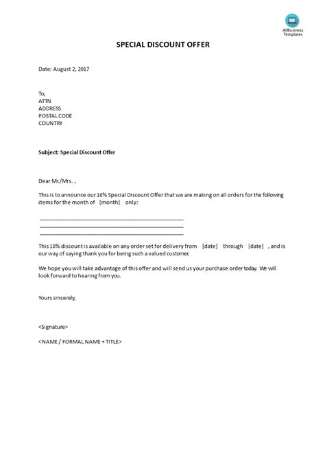 special discount offer template sample letter  client