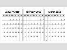 2019 3 Month Printable Calendar Templates Free [Download