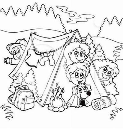 Coloring Summer Camp Dog Camping Pages Printable