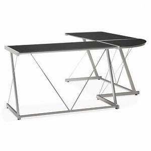 Bureau Verre Trempé Noir : bureau d 39 angle design rovigo en verre tremp et m tal noir ~ Melissatoandfro.com Idées de Décoration