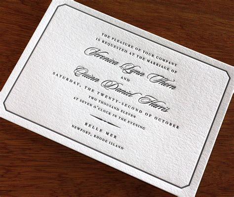 Classic Letterpress Wedding Invitation Design Belle Mer