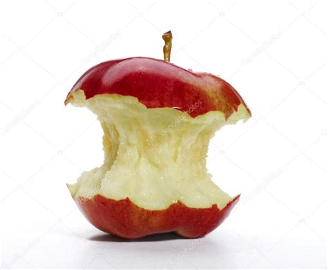 Red apple with bite isolated on white background. — Stock ...
