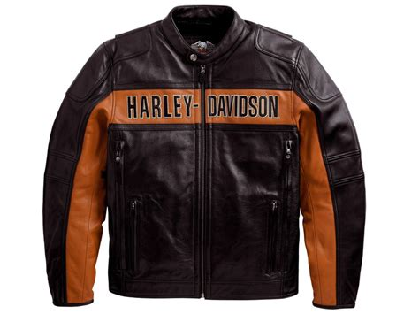 Harley Davidson Mens Black Orange Classic Riding Leather