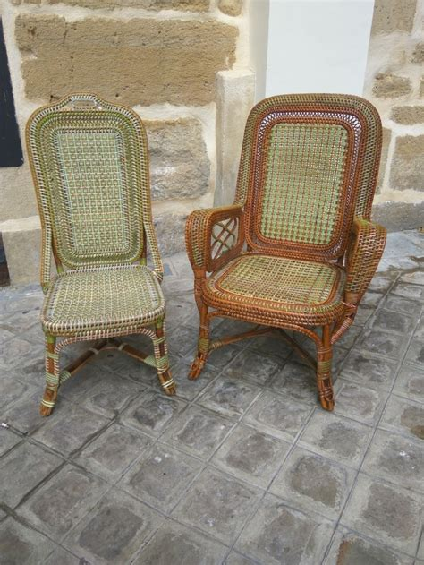 chaise en rotin but rattan armchair and chair perret vibert galerie vauclair