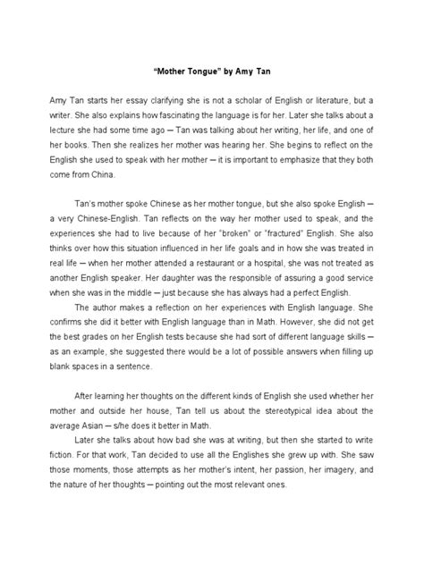 who is a mother essay amy tan mother tongue mother tongue mother tongue critical