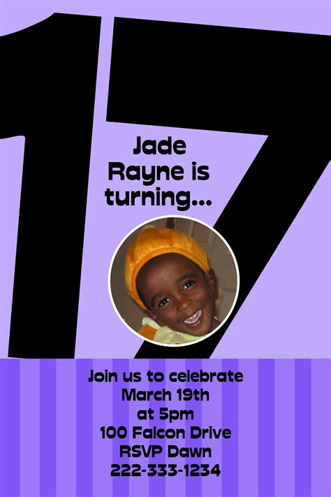 Age 17 Birthday Invitations ANY COLOR Digital Download