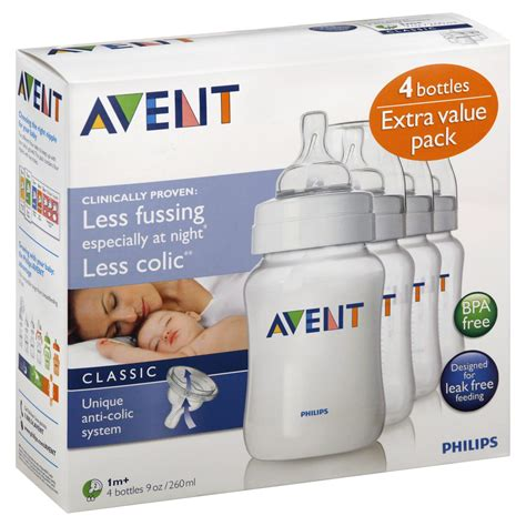 Philips Avent 4 Pack Baby Bottles 9 Ounces