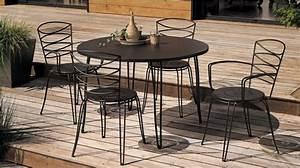 Salon De Jardin Table Ronde : salon de jardin table ronde metal table de lit ~ Teatrodelosmanantiales.com Idées de Décoration
