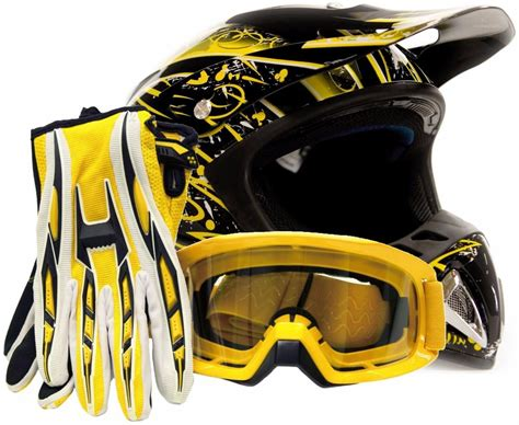 Adult Motocross Helmet With Gloves And Goggles Yellow Dirt