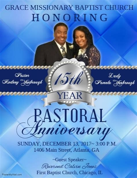 pastor anniversary template postermywall