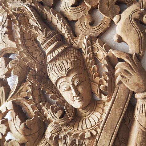 Buy Tropical Angel Carving Wooden Panel