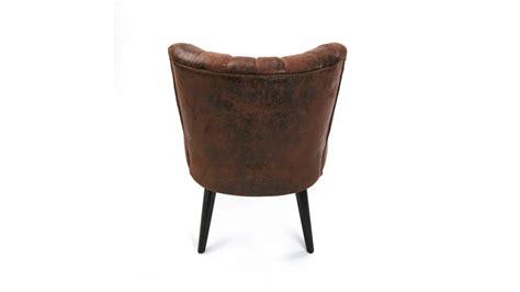 fauteuil simili cuir vieilli marron renoir pas cher
