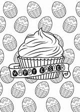 Easter Coloring Pages Adults Egg Muffin Cup Cakes Cupcakes Adult Cupcake Food Paques Eggs Theme Chocolate Print Sweet Colouring Printable sketch template