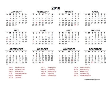 excel 2018 yearly calendar 2018 yearly calendar template excel free printable templates