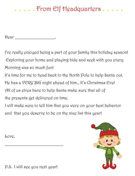 elf   shelf goodbye letter  elf   shelf