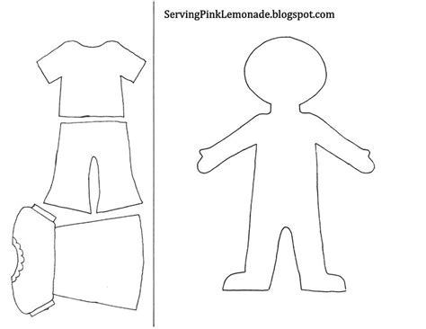Felt Dress Up Doll Template by Template For And Clothes Also Mailbox Tree For