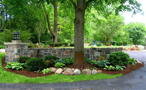 landscaping a driveway beautiful stone garden walls reflections from wandsnider landscape architects