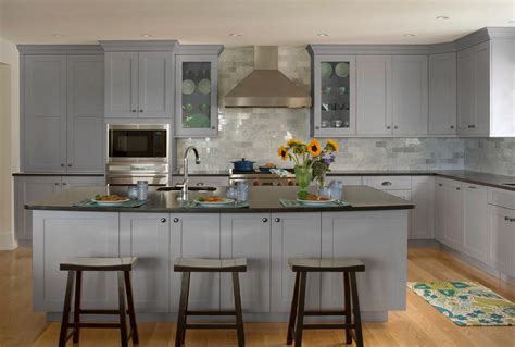 gray cabinet kitchens kitchen ideas light grey shaker cabinets brass knobs asian 1313