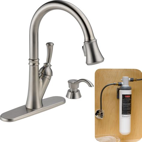 kitchen faucet filter shop delta savile with filtration stainless 1 handle pull