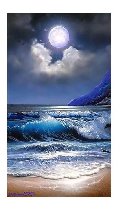 Moon Ocean Sea Coastline Moonlight River