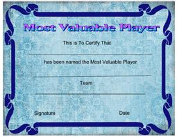 printable sports award certificate templates