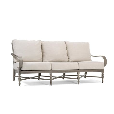 blue oak saylor wicker outdoor sofa with outdura remy sand