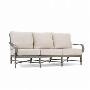 Blue oak saylor wicker outdoor sofa with outdura remy sand for Outdoor sectional sofa metal