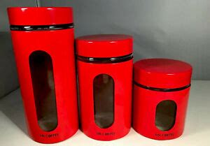 Made in the 1960s by villa ware, australia. Mcm Retro Red Mr Coffee Glass Metal Canisters Set 3 | eBay