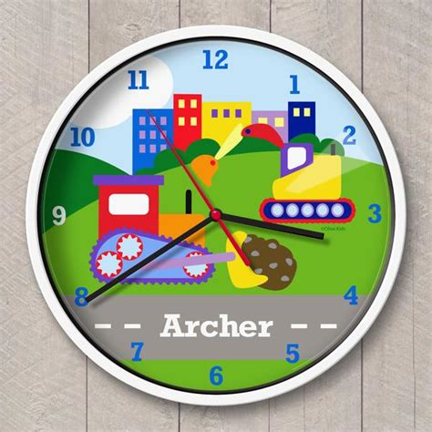 toddler clock under construction personalized kids clock art appeel