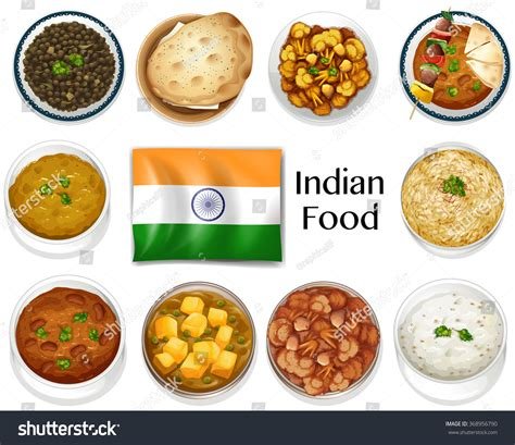 different indian cuisines different dish indian food illustration stock vector