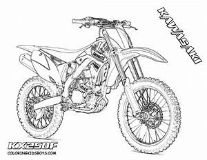 coloriage motocross kawasaki pour spectacle dessin gratuit With honda 400 dirt bike