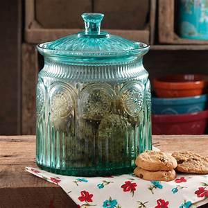 Adeline, Turquoise, Glass, Cookie, Jar