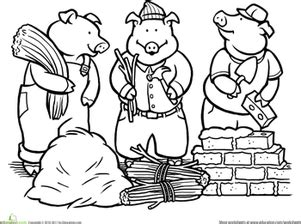 Color the Three Little Pigs Worksheet Education com