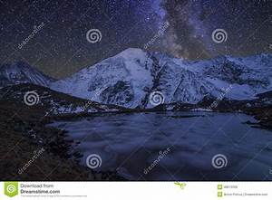 Magic Night Landscape With Mountains, Frozen Lake Stock ...