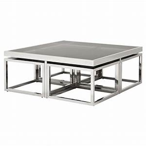 eichholtz brubeck hollywood silver black glass 5 piece With silver square coffee table