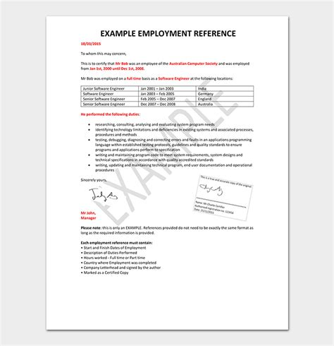 employment reference letter   write  sample