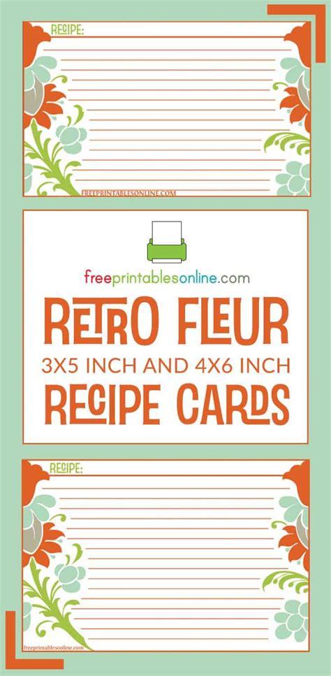 retro fleur recipe card template  printables