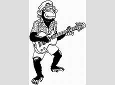 Affe Mit Gitarre Ausmalbild & Malvorlage Musik