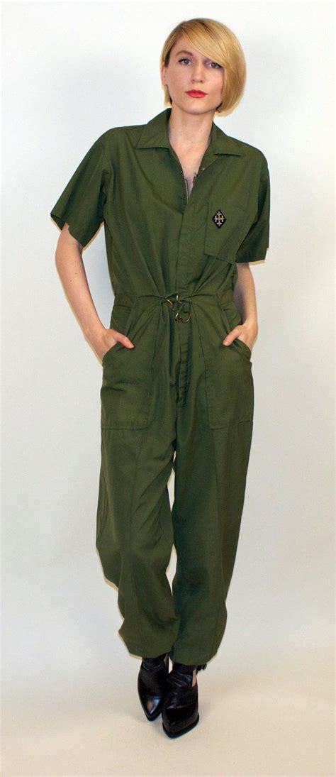 army jumpsuit 70s jumpsuit army green coveralls romper pantsuit