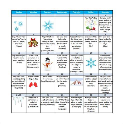 sample preschool calendar templates   sample