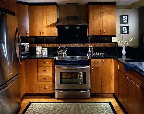 condo kitchen  asian feel slab maple cabinet doors