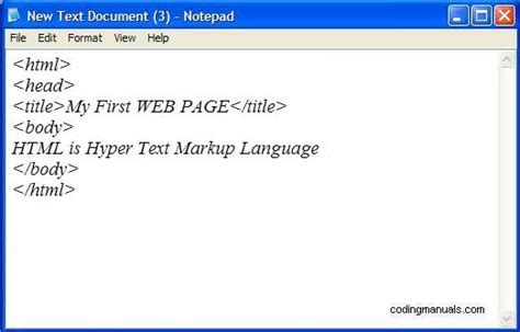 html simple codes creating a webpage coding manuals