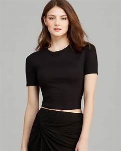 Three Dots Short Sleeve Crop Top in Black | Lyst