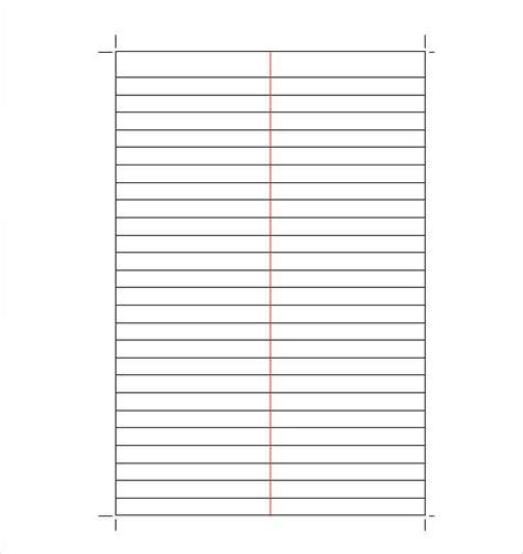 lined paper templates   excel