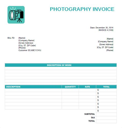 photography invoice templates   samples