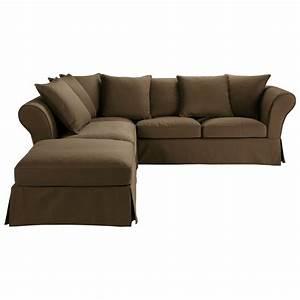 canape d39angle 6 places fixe chocolat roma maisons du monde With tapis de marche avec grand canapé d angle en u