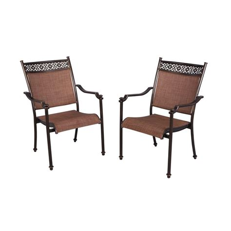 patio sling chairs hton bay niles park sling patio dining chairs 2 pack