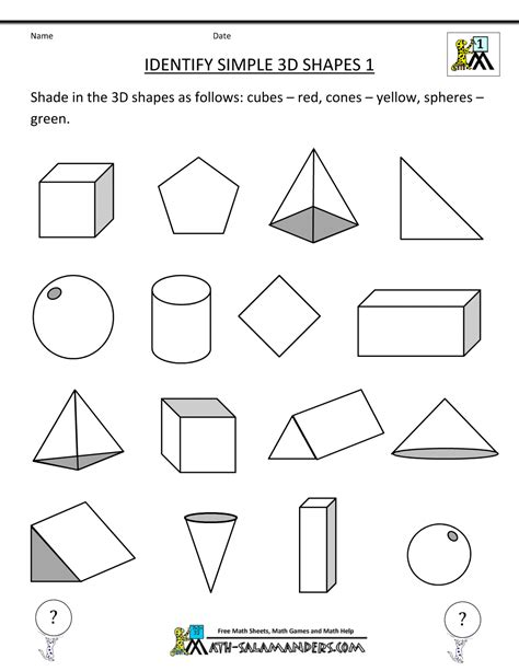 worksheets maths shapes grade geometry