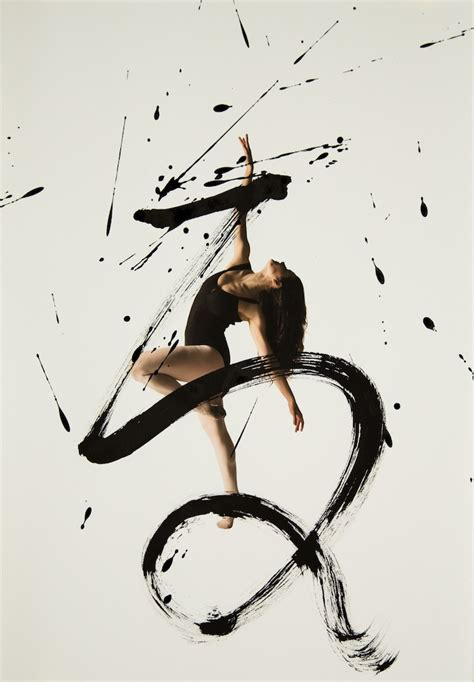 expressive combination  ballet dancers  calligraphy
